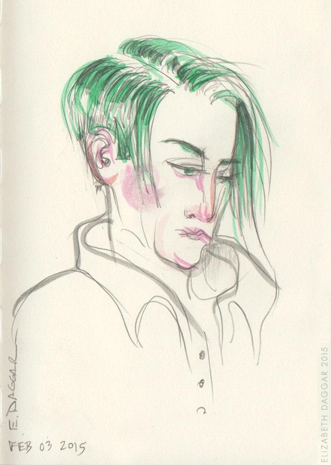 hair portrait in watercolor