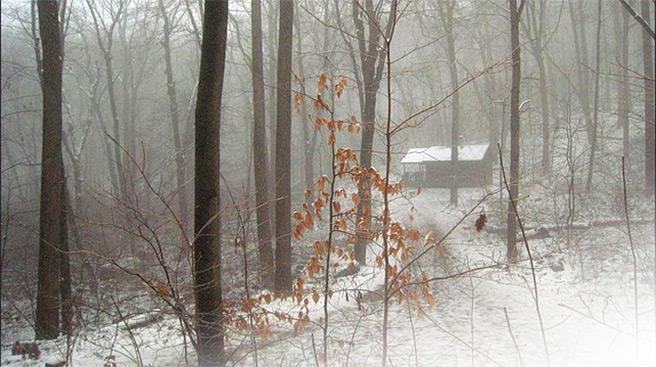 Cabin in snow, NJ, 2008