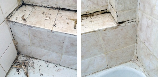 After attacking the offending grout / caulking: a right mess.