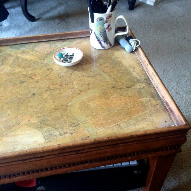 Current coffee table with map of Rome