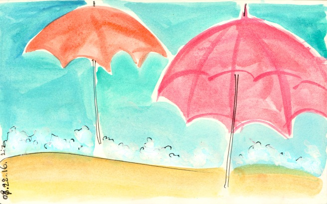 watercolor beach umbrellas
