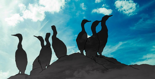 drawing of cormorants against blue sky
