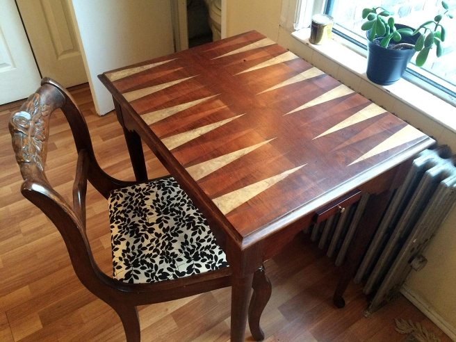Completed restoration on a Queen Anne style gaming table