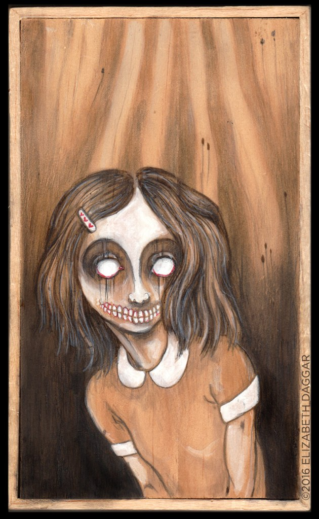 Creepy Girl [2016] Pencil, markers, and casein on cradled wood board