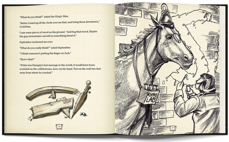Sample spread showing several levels of 'finish' on the illustrations