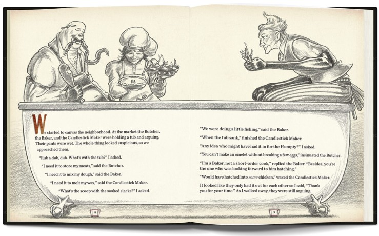 One of the spreads in finished pencil form for this work-in-progress edition