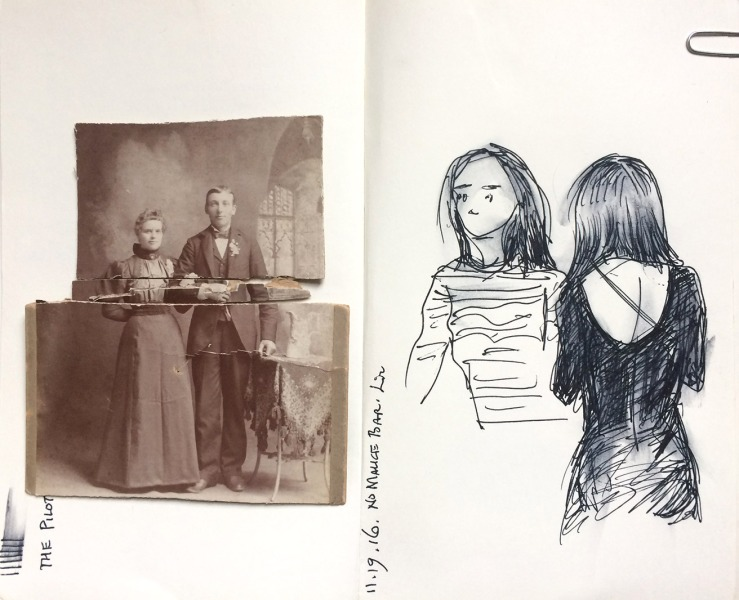 A cabinet card portrait in three parts, gift from Zac; and another bar drawing