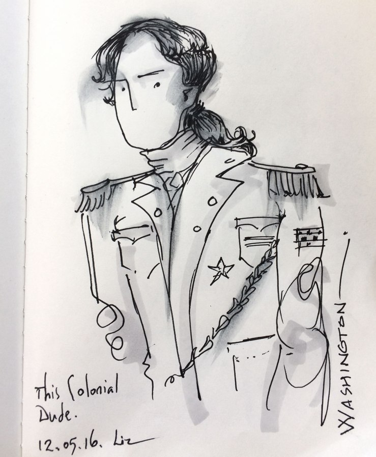 drawing of a colonial man in uniform