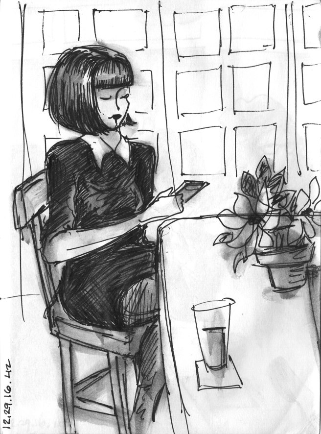 sketch of a woman at a bar