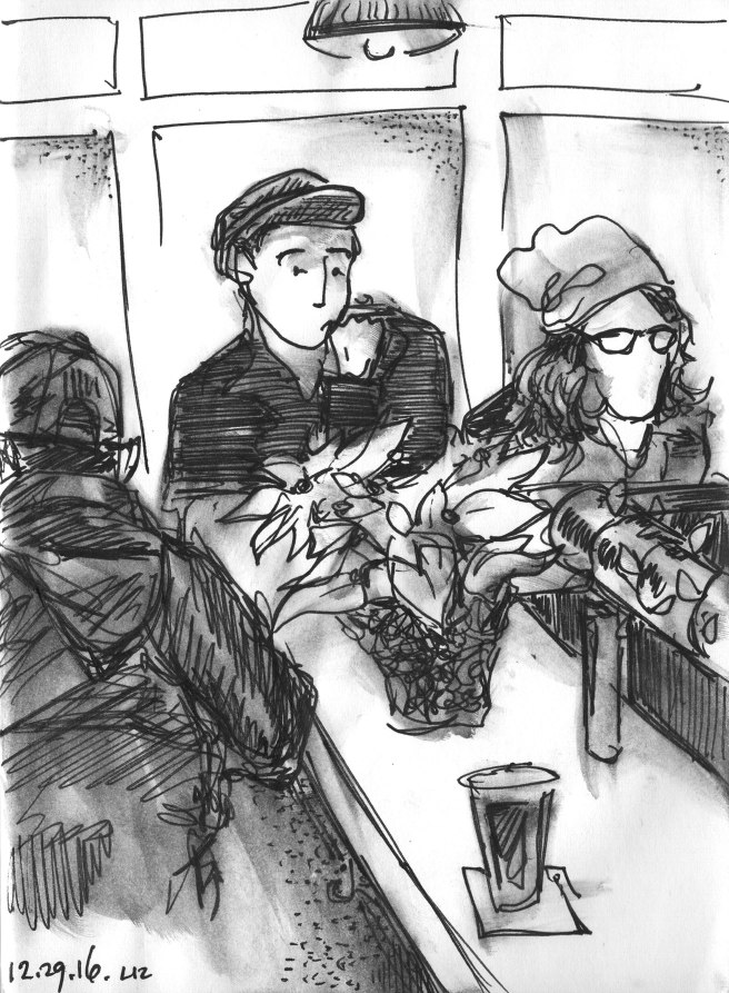 sketch of people at a bar