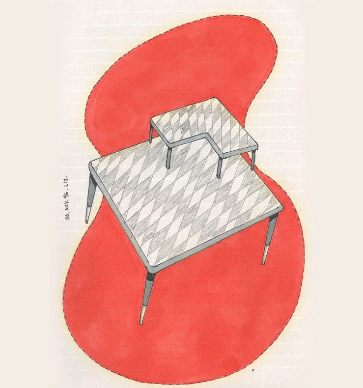 drawing of a harlequin patterned table