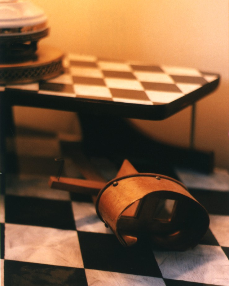 photo of a harlequin patterned table