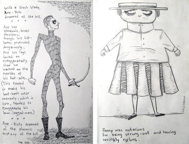 two sketchbook drawings