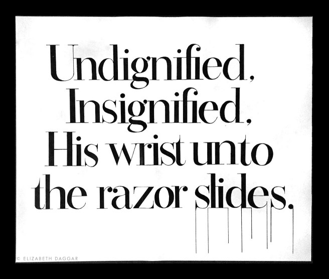 Hand-lettered text of a Bauhaus song lyric