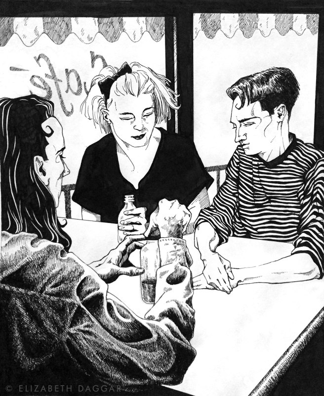 ink illustration of three friends