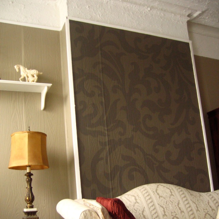 Interior wall with projected pattern painted on