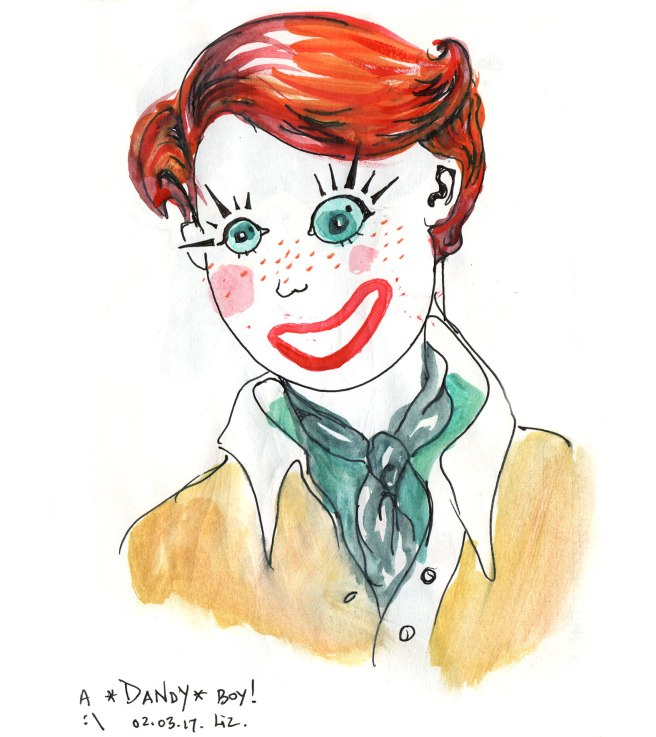 watercolor porttrait (clown-like)