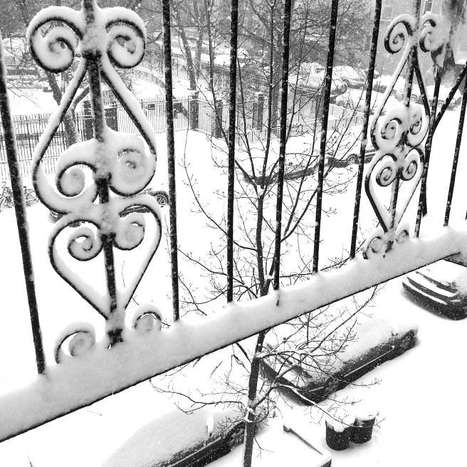 snowy fire escape
