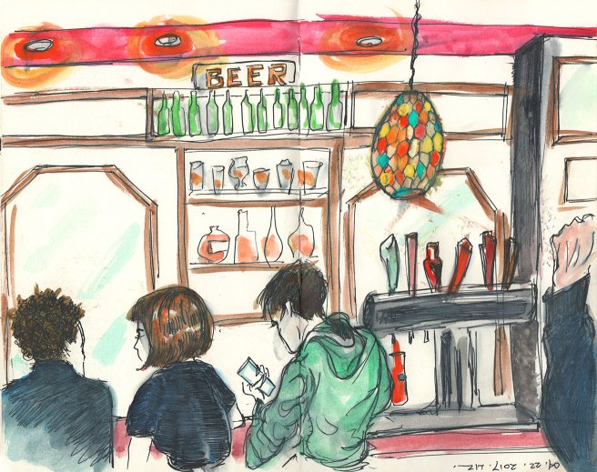 sketch of people in a bar