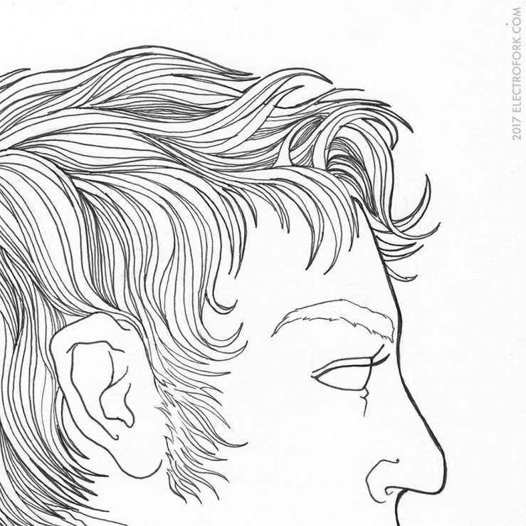 section of an ink drawing portrait