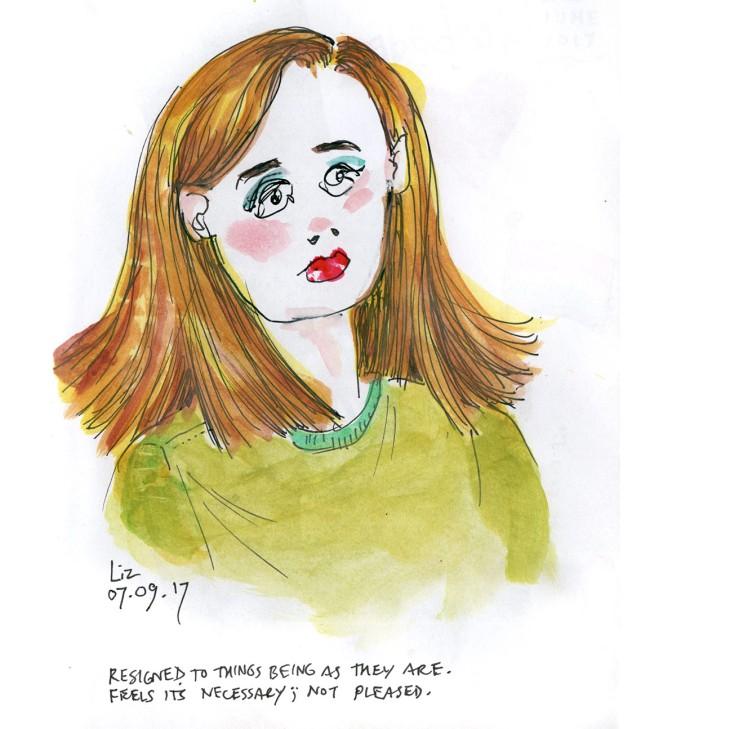 watercolor sketch of a woman