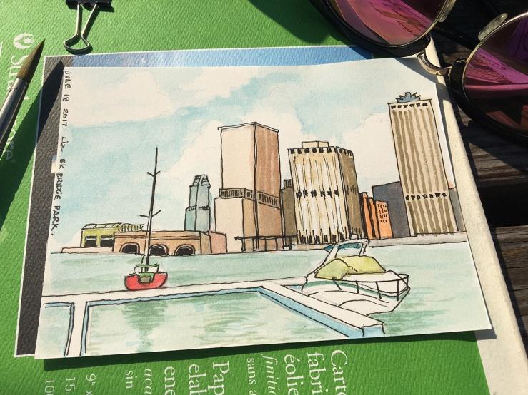 sketching at Brooklyn Bridge Park