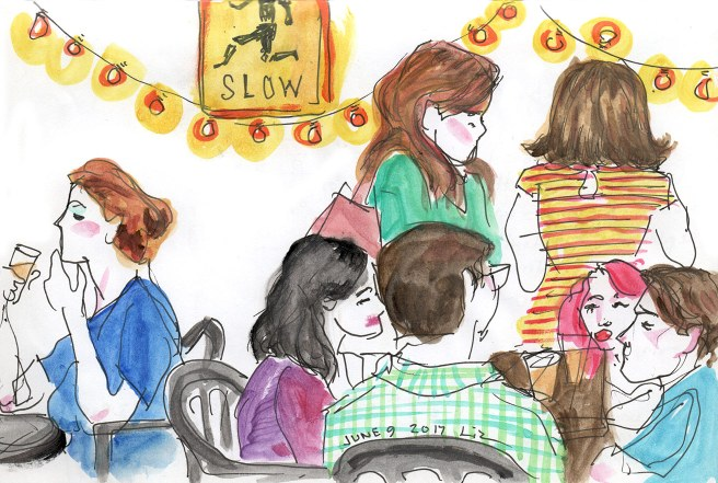 watercolor sketch of people