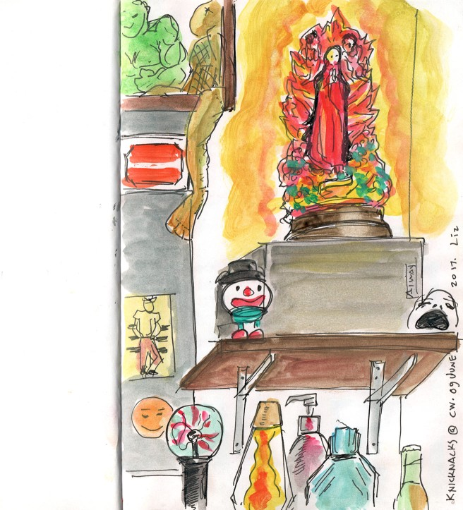 watercolor sketch of an interior