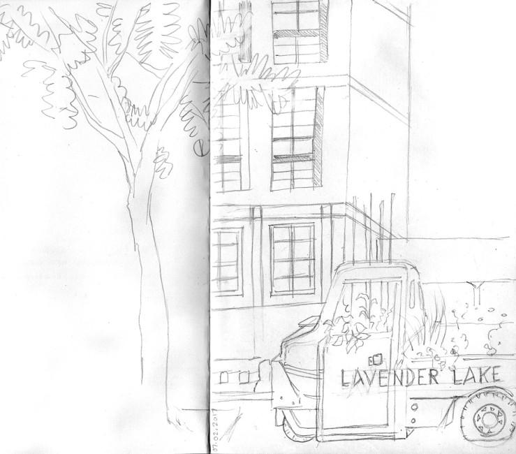urban sketch, Lavender Lake
