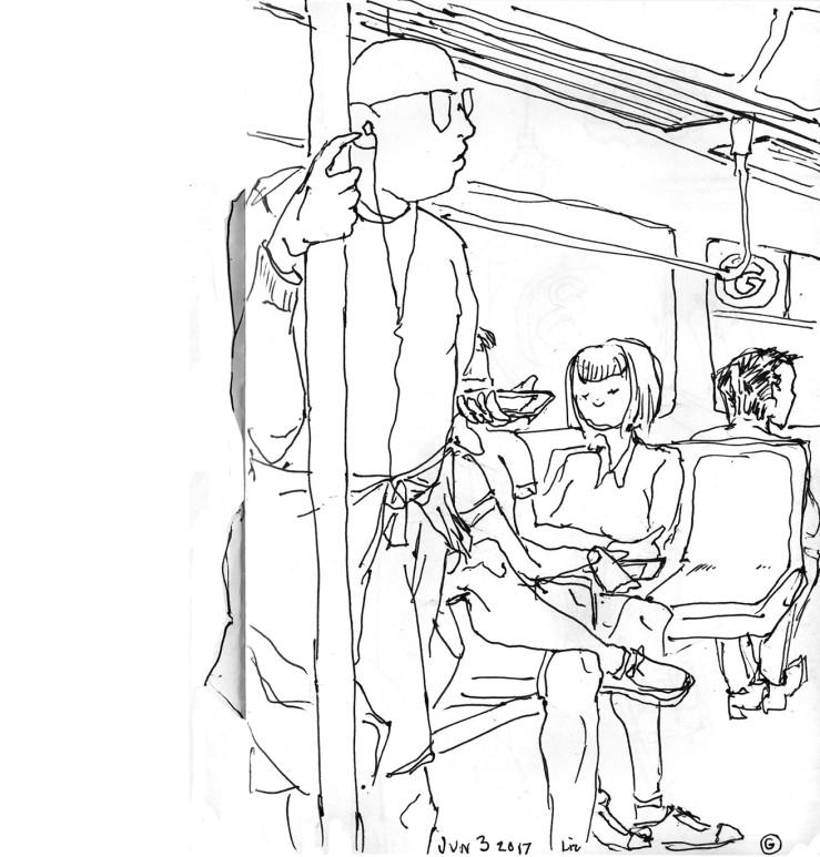 urban sketch: G train
