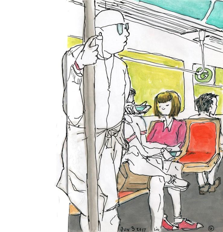 urban sketch: G train in color