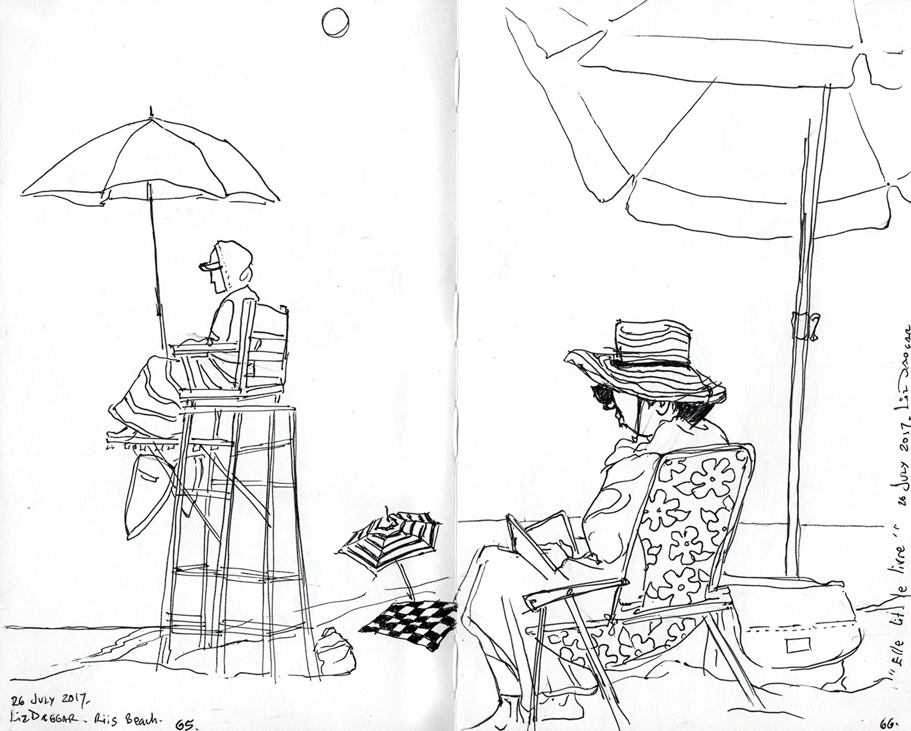 Another Half Day Spent At The Beach And Two More People Added To Sketchbook I Also Made A Silly Little Movie Of Sea Birds Fluttering Fighting