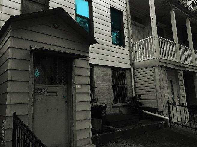 photo colorizations of windows in Gowanus by Elizabeth Daggar