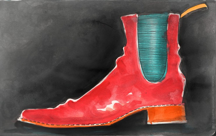 Watercolor of a red boot
