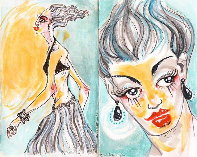 watercolor sketch, fashion