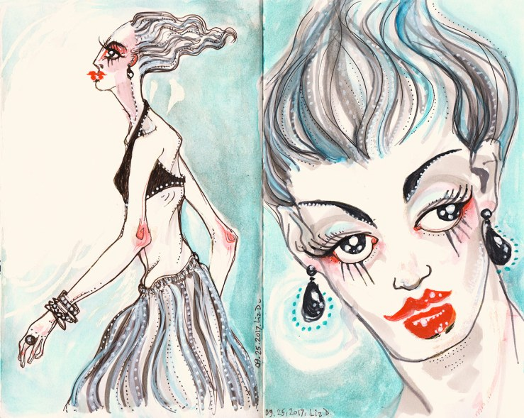watercolor and marker sketch, fashion sketch