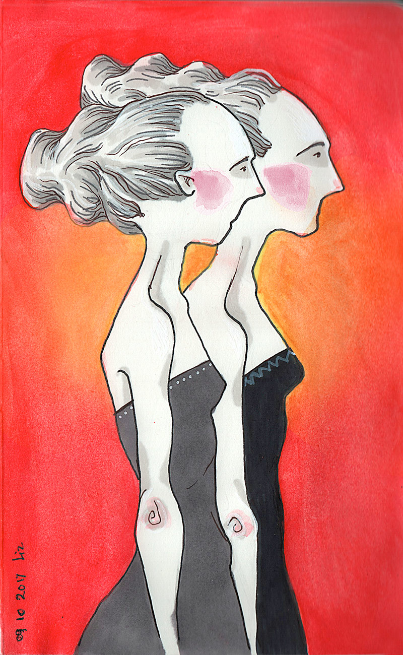 watercolor painting: fraternal twins