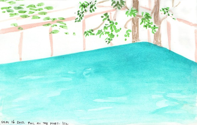 Pool and Pines in watercolor