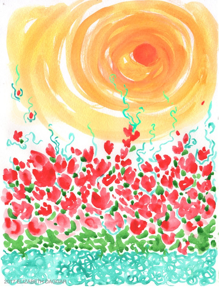watercolor painting of poppies in sunlight
