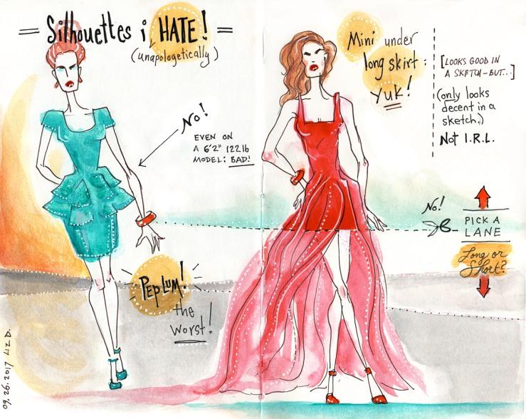 """Silhouettes I Hate"" sketch on fashion"