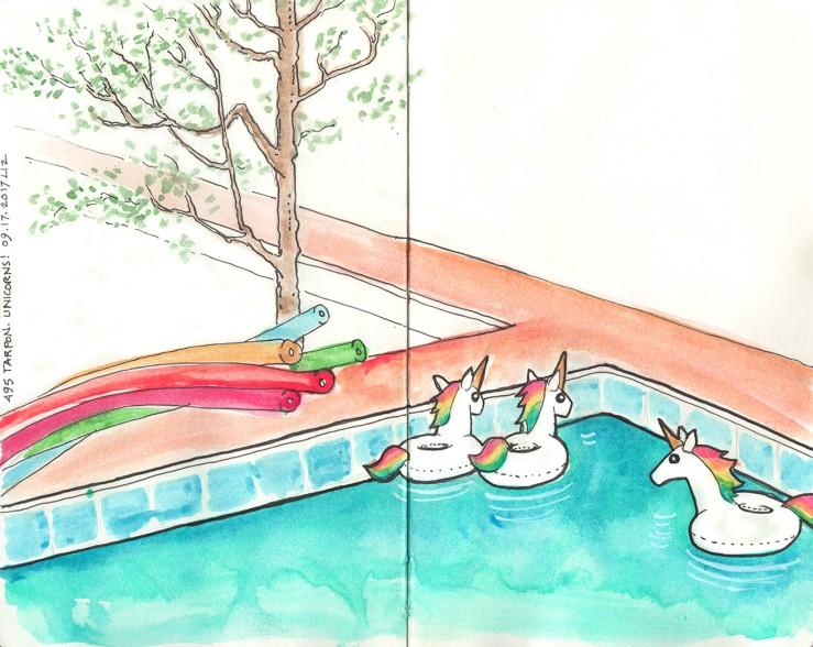 Unicorns in a pool in watercolor