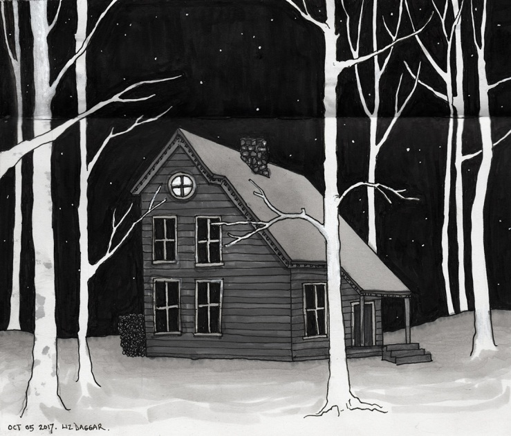 a house in a copse of trees (ink drawing)