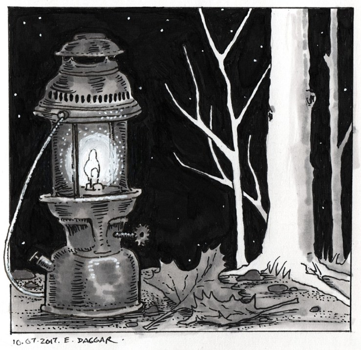 Ink drawing of a lantern
