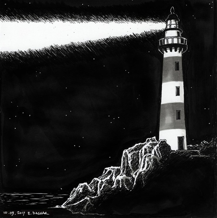 ink drawing of a lighthouse