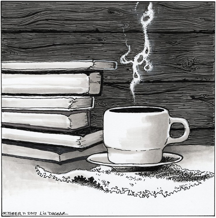 ink drawing of a cup of coffee and some books