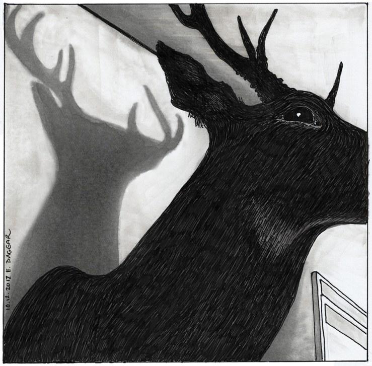 shadows of taxidermied deer )ink drawing)