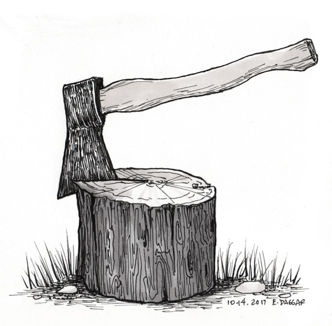 ink drawing of an axe in a log