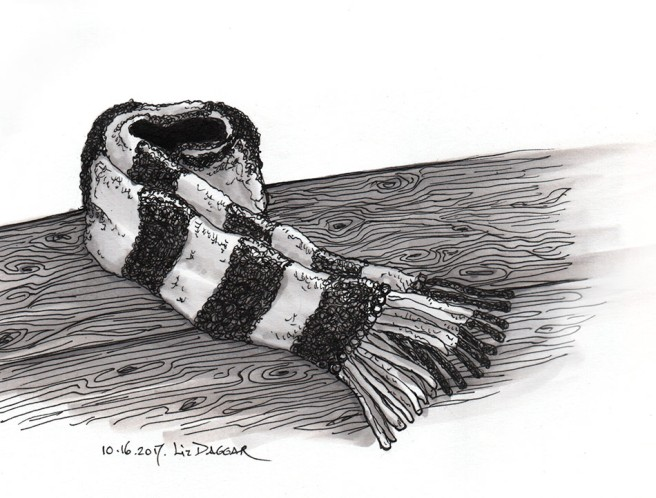 ink drawing of a scarf by E Daggar