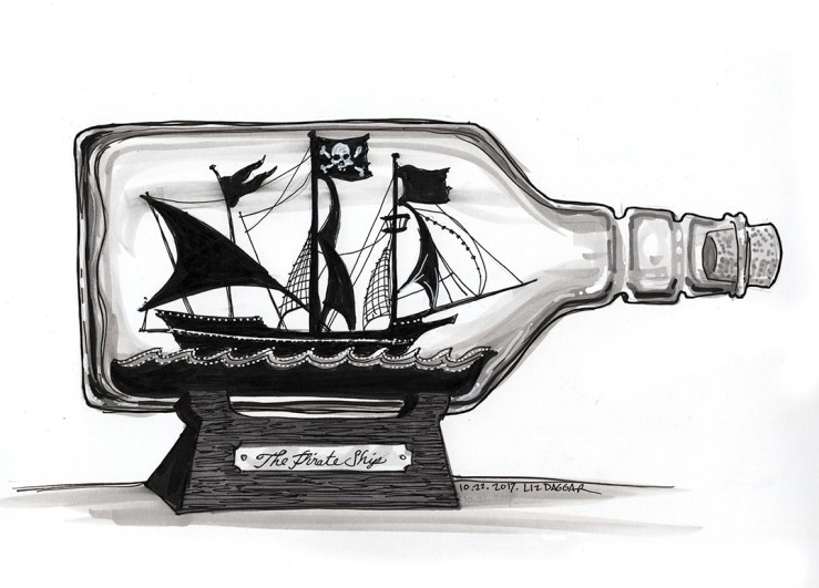 ink drawing of a ship in a bottle