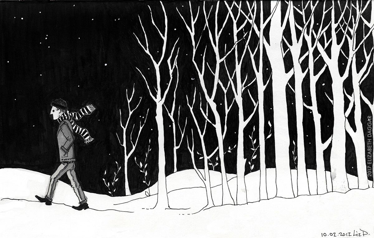 Leaving woods on a winter night